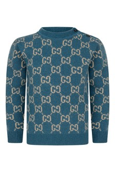 Baby Boys Blue Wool Knitted GG Jumper