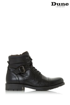 Dune London Commonn Black Leather Toecap Buckle Boots