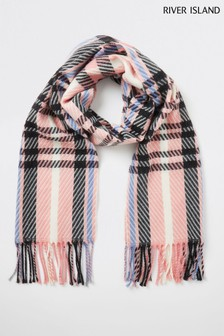 River Island Light Pink Skinny Check Scarf