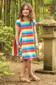 Frugi GOTS Organic Jersey Rainbow Stripe Full Skirt Dress