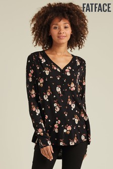 FatFace Black Anika Painted Floral Longline T-Shirt