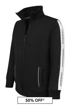 Boys Black Logo Trim Zip Up Top