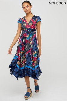 Monsoon Blue Grace Floral Print Ecovero Dress
