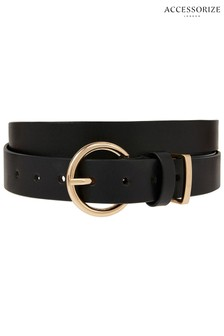 Accessorize Black Round Buckle Leather Jeans Belt