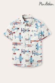Boden Ivory Smart Short Sleeve Shirt