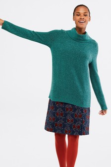 White Stuff Teal Dapple Longline Jumper