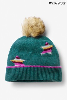 White Stuff Teal Cashmere Star Pom Hat