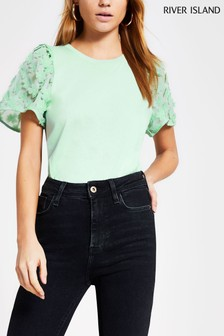 River Island Green Light 3D Floral T-Shirt