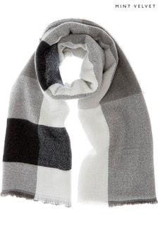 Mint Velvet Grey Check Blanket Scarf