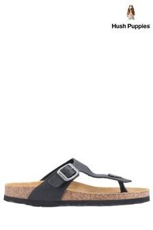 Hush Puppies Black Kayla Slip-On Sandals