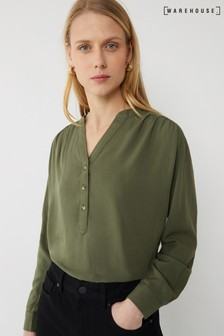 Warehouse Green Long Sleeve Overhead Top