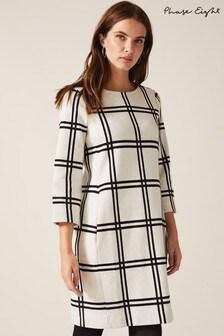 Phase Eight Cream Mercia Large Check Tunic Dress