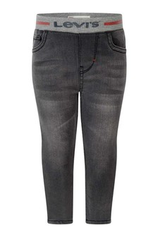 Baby Boys Black Cotton Pull-On Skinny Fit Jeans