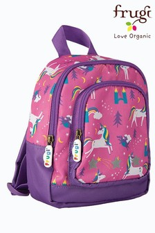 Frugi Pink Recycled Unicorn Print Small Backpack