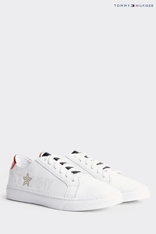 Tommy Hilfiger White Metallic Star Trainers