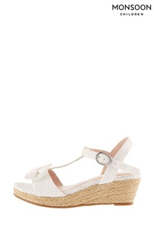 Monsoon Natural Broderie Wedge Sandals