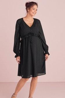 Maternity/Nursing Embroidered Smock Dress