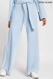 River Island Blue Light Wide Leg Smart Lounge Trousers