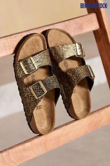 Birkenstock® Black Python Arizona Sandals