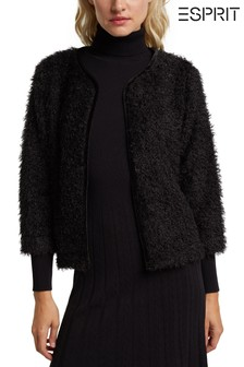 Esprit Womens Black Teddy Bear Bolero