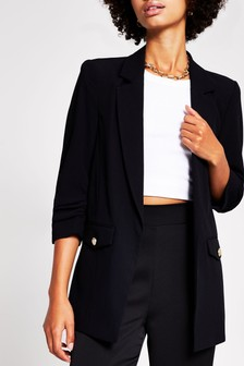 River Island Black Pocket Detail Blazer