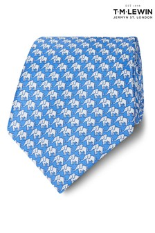 T.M. Lewin Made In Italy Wide Blue And White Elephant Silk Tie