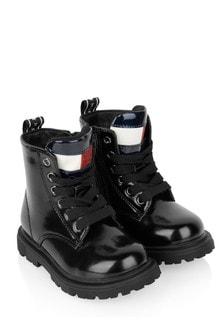 Tommy Hilfiger Girls Black Flag Logo Boots