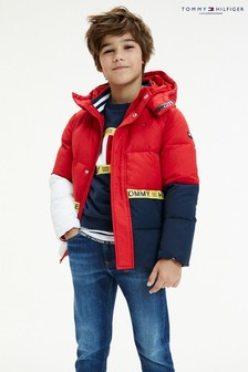 Tommy Hilfiger Red Sustainable Colourblock Padded Jacket