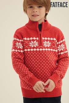 FatFace Red Snowflake Half Neck Jumper