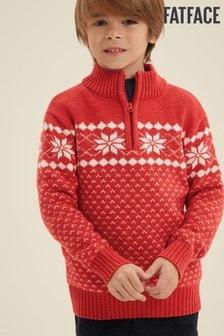 Červený pulóver s polovičným golierom a snehovou vločkou FatFace