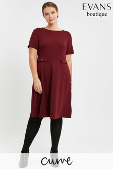 Evans Curve Red Button Fit And Flare Dress