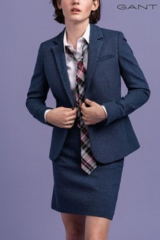 GANT Blue Herringbone Jersey Fitted Blazer