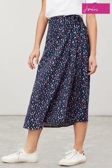 Joules Blue Alissa Navy Dash Spot Wrap Skirt