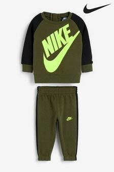 Nike Infant Khaki Futura Crew And Jogger Set