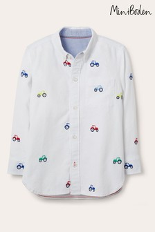 Boden Ivory Embroidered Oxford Shirt