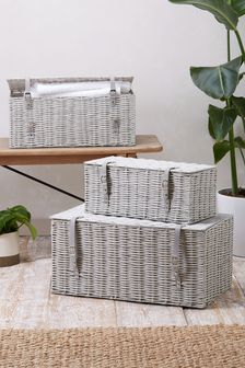 Set of 3 Plastic Wicker Storage Trunks