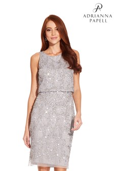 Adrianna Papell Grey Beaded Cocktail Dress