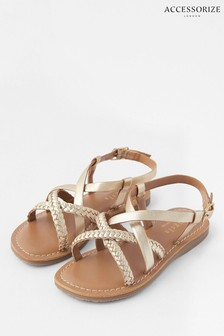 Accessorize Brights-Multi Plaited Leather Sandals