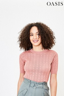 Oasis Pink Pointelle Knit Top