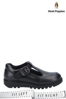 Hush Puppies Black Kerry Non Patent Junior Buckle Shoes