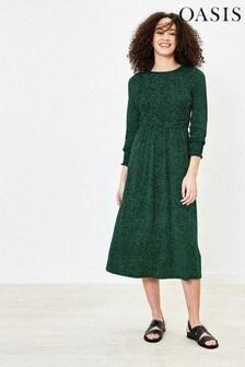 Oasis Green Harrison Ditsy Smocked Midi Dress