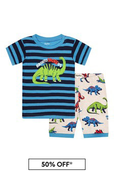 Hatley Kids & Baby Boys Blue Friendly Dinos Organic Cotton Short Pyjama Set