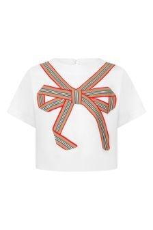 Girls White Bow Cotton T-Shirt