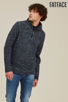 FatFace Blue Woolacombe Twist Half Neck Sweater