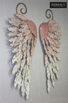 Metallic Pink Angel Wings Wall Art by Arthouse