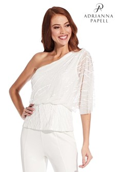 Adrianna Papell White Beaded Blouson Top