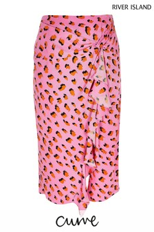 River Island Pink Bright Twist Frill Midi Skirt