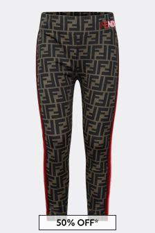 Girls Brown FF Logo Leggings