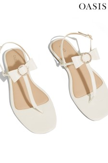 Oasis White Bow Toe Post Sandals