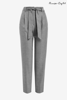 Phase Eight Grey Herringbone Tapered Trousers